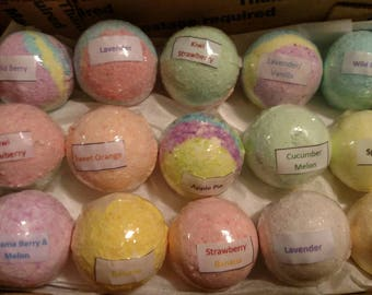 Sale 3.5oz Bath Bomb-Random Set of 15-Made with Coconut Oil-Variety of Colors and Fragrances-Sensitive Skin-Perfect for Kids-Great Gift Idea