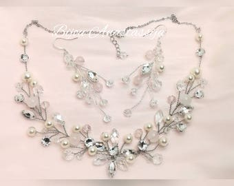 Necklace Earrings Bridal Swarovski crystal Rose quartz Swarovski beads
