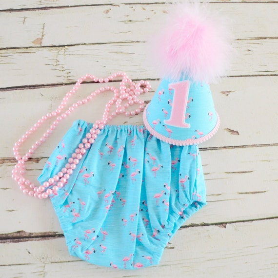 Flamingo theme Girl Cake smash outfit Baby girl birthday set