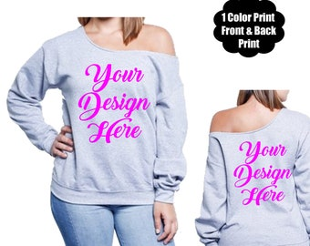 e2b329570 Custom off the shoulder sweatshirt 1 color print - front and back   cowboys    falcons  seahawks   bucs   packers