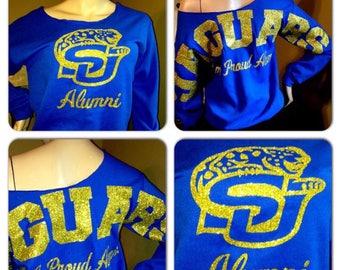 Southern University Jaguars Bling Sweatshirt   SU Glitter Sweatshirt