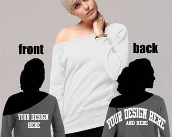 f2a9a5a17 Custom off the shoulder sweatshirt with oversized print on back