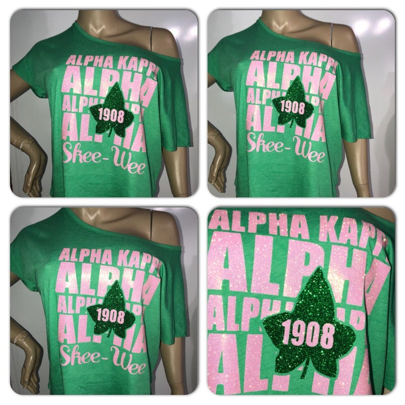 b95cfb0f AKA Off the shoulder tee // Alpha Kappa Alpha glitter tshirt | Etsy