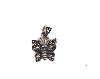 Butterly Sterling Silver Charm Marcasite Pendant Necklace Jewelry