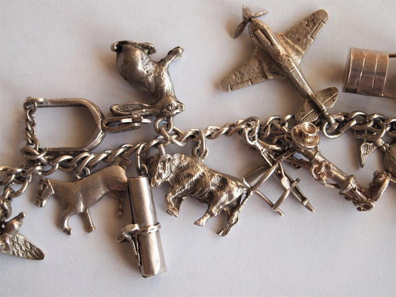Charm Bracelet Sterling Silver 22 Charms Puffy Heart Vintage 1940s Cherub Diploma Tojan Totem Pole Cupid Moveable Mechanical