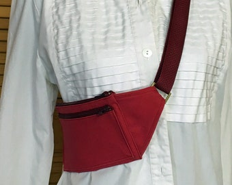 Cross body cell phone, passport tote in durable red canvas with RFID lining.