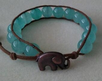 Aqua Stone Wrap Bracelet