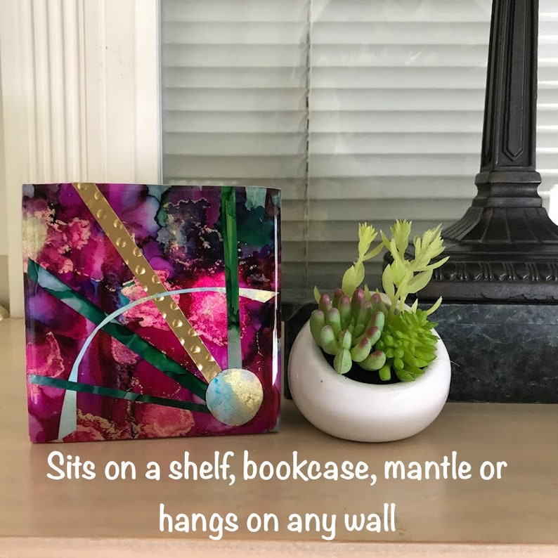 Alcohol Ink on Yupo Paper mounted on a Birch Wood Panel Miniature Abstract 4x4x1.5 Shelfie 4x4w102 Resin Finish
