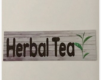 Herbal Tea Rustic Sign Hanging or Wall Plaque