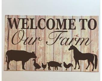 Welcome Cow Sign Wall Hanging Plaque Milk Front Door Horse Rooster Chicken Hen Pig Duck