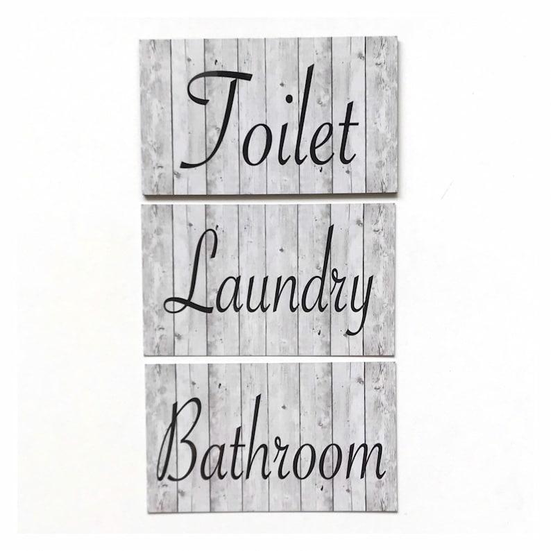Bathroom Laundry Toilet Room Door Sign Set Tin Wall Plaque Skull Western Country