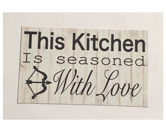 This Kitchen Is Seasoned With Love Room Sign Cafe House Kitchen