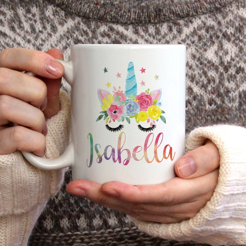 Watercolour Unicorn Personalized Name Mug unicorn mug gift image 0