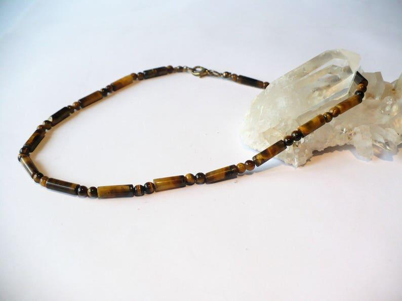 4mm gemstone gemstone semi-precious crew neck long opera necklace choker Necklace genuine Tiger/'s eye round beads  tubes man woman