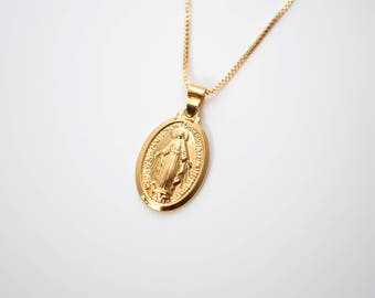 Gold Virgin Mary Medallion Necklace