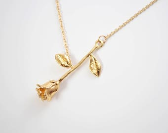 Gold rose necklace  780a84b51145