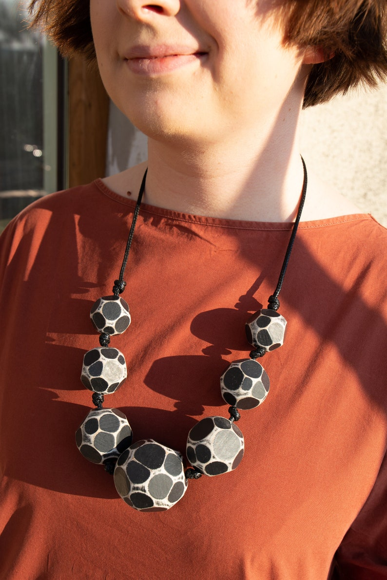 Hand-Painted Jewellery Hand-Painted Wooden Jewellery Cutaway Black Beads Necklace