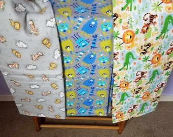 Jungle Print, Zoo Print, Monsters Print Receiving Blankets                 (Free Shipping)