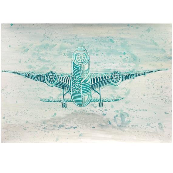 Airplane Art For Men Boys Room Military Design Living Etsy