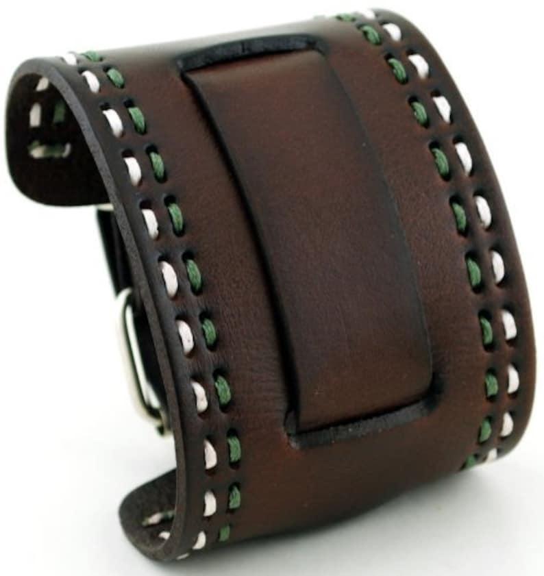 100173b36c677 Nemesis HD-BUR Black Wide Leather Cuff Wrist Watch Band | Etsy