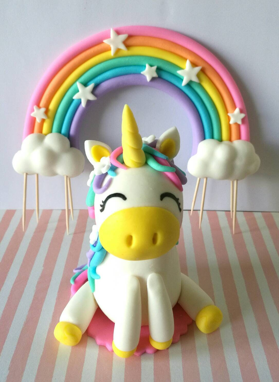 Unicorn Fondant Figure & Rainbow Cake Topper | Etsy