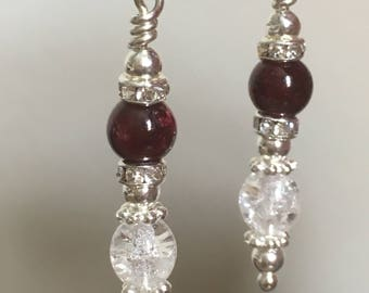 Garnet & Czech Crystal Silver drop earrings