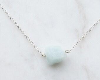 Raw Aquamarine Crystal Necklace - Aquamarine Gemstone Necklace - Solo Aquamarine Pendant - Aquamarine Nugget Necklace