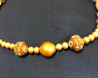 Bead Necklace, Amber Beads,