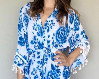 6d140b31f7 Blue Boho Floral Robe-Bridesmaid Robes-Bridesmaid Gifts-Bridal Robes-Bohemian  Robes-Cotton Robes-Wedding Robes-Robe For Bride-Floral Robes