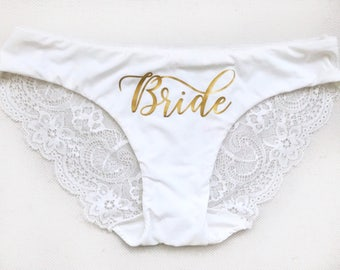 4166aa0573b4 Personalized Bride Panties, Custom Bride Lace Underwear, Bridal Lingerie,  Bachelorette Bridal Party Gift, Just Married Honeymoon Underwear