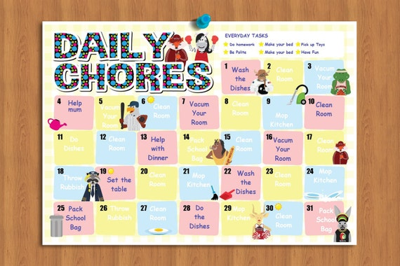 chore chart kids kids daily chores kids to do list kids etsy