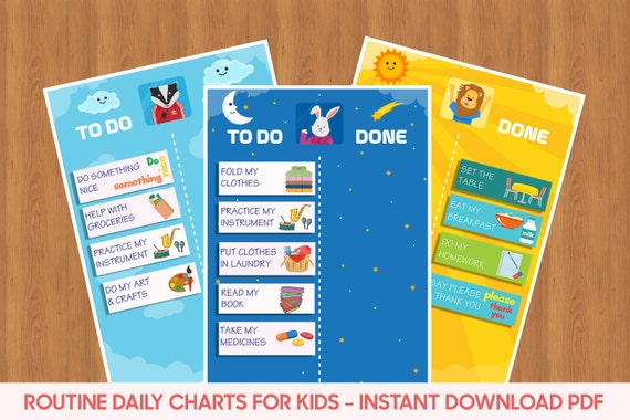 kids daily routine kids reward chart chore chart for kids etsy