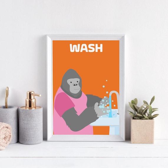 Witzige Bad-Kunst für Kinder Kinder-Badezimmer-Dekor waschen | Etsy