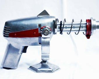 Retro Sci-Fi Ray Gun - Cosplay / LARP Prop Gun with Light and Stand