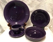 Homer Laughlin China Co. Fiesta Plum Five Piece Place Settings New In Box, Never Used Discontinued Color
