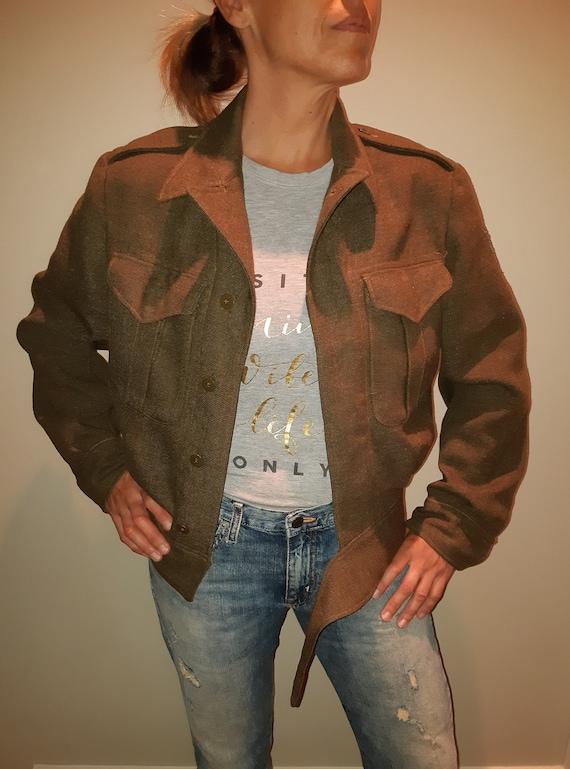 Vintage Army Military Jacket Wool Coat Battledress