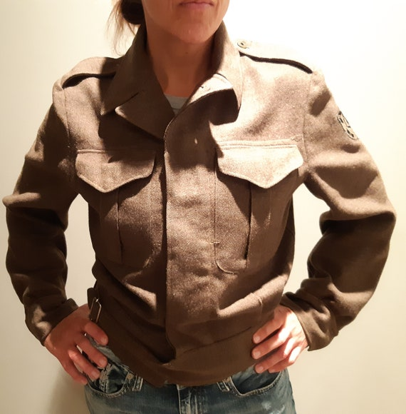 Vintage Army Military Jacket Wool Coat Battledres… - image 2