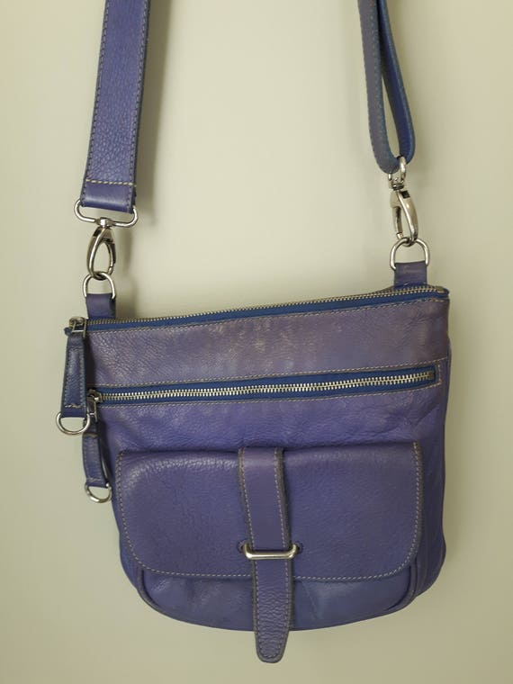 Roots Canada Leather Purse, Roots Side Saddle Bag, Gorgeous Vintage Purple Leather Bag