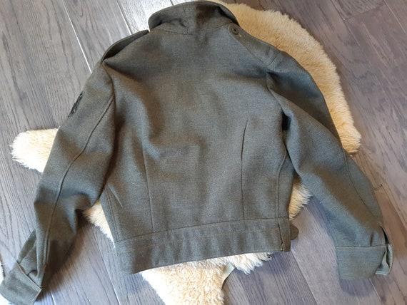 Vintage Army Military Jacket Wool Coat Battledres… - image 6