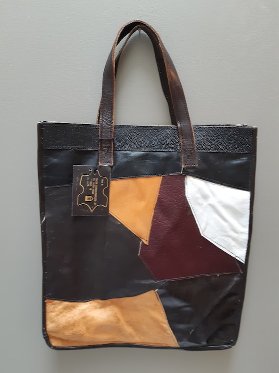 Leather Patchwork Market Tote  Bag