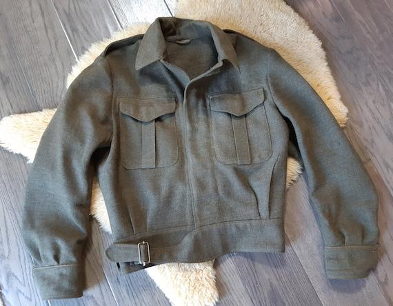 Vintage Army Military Jacket Wool Coat Battledres… - image 10