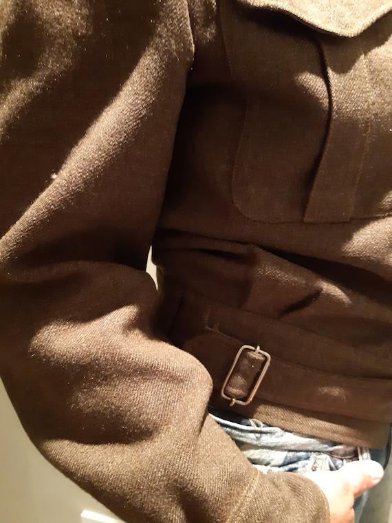 Vintage Army Military Jacket Wool Coat Battledres… - image 4