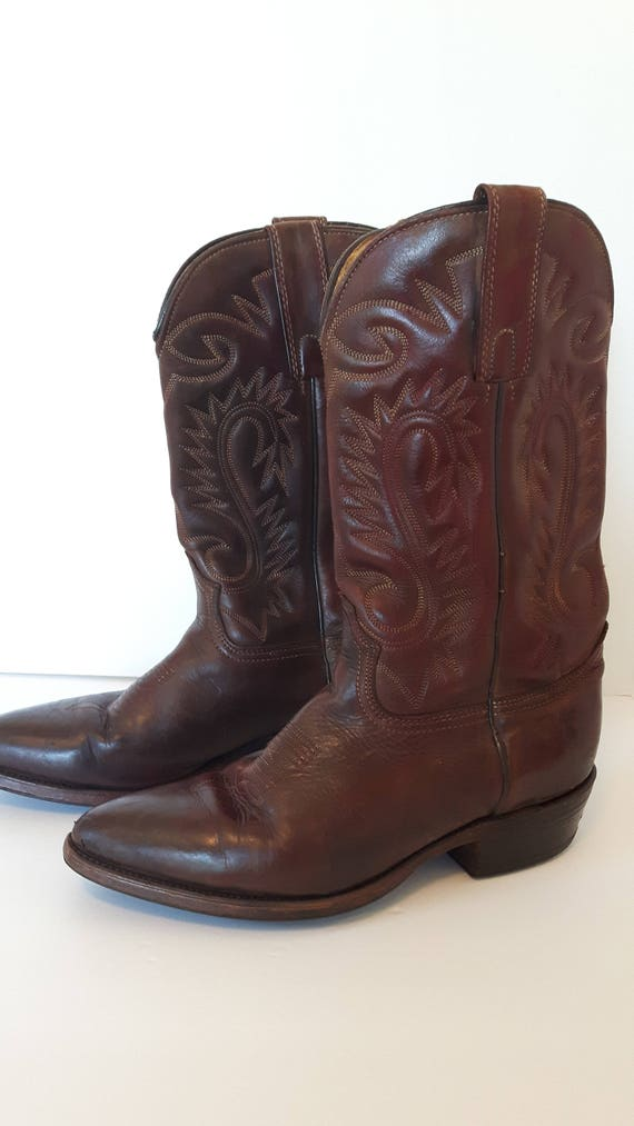 aa4d15db4af Vintage Frye Leather Cowboy Boots, Unisex Men's size 9.5 Boots, Western  Boots, Eagle Taps, Topy Soles, Women's Frye Boots