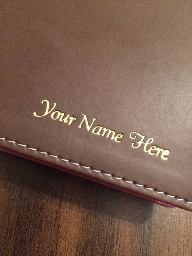 Personalized Esv Single Column Journaling Bible Large Print Brown Natural Genuine Leather