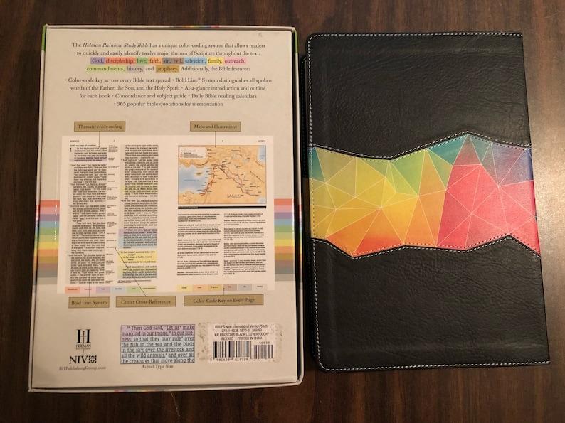 PERSONALIZED ** NIV Rainbow Study Bible Indexed - Kaleidoscope / Black  Leathertouch ** Custom Imprinted