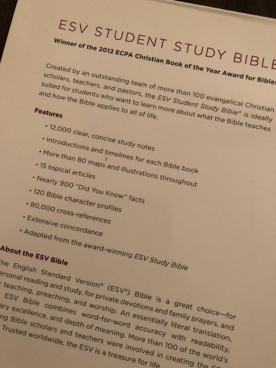 PERSONALIZED ** ESV Student Study Bible - Chestnut Trutone ** Custom  Imprinted