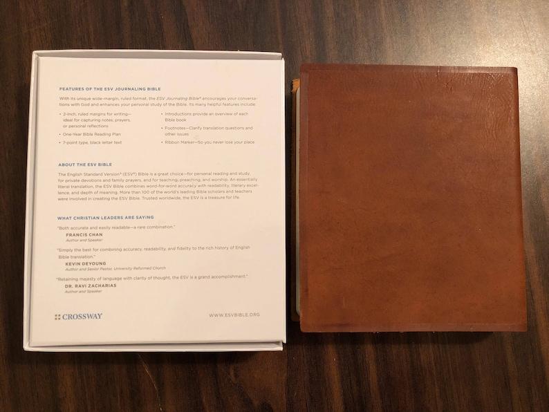 PERSONALIZED ** ESV Journaling Bible - Brown Natural Genuine Leather **  Custom Imprinted