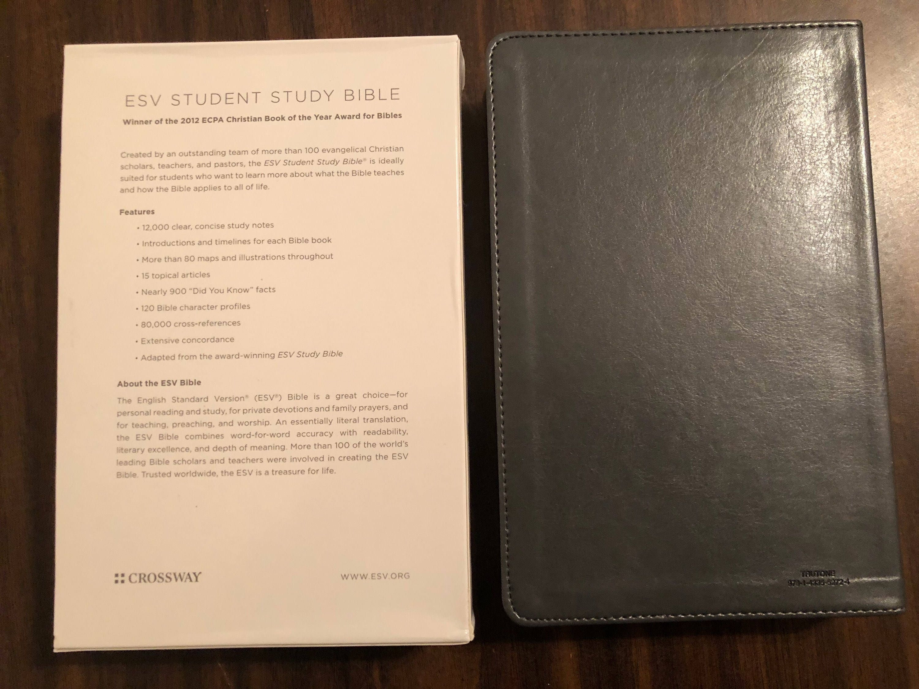 PERSONALIZED ** ESV Student Study Bible - Gray Trutone