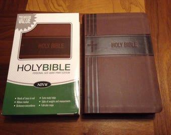 PERSONALIZED ** NIV Personal Size Giant Print Bible - Brown Italian DuoTone Cover ** Custom Imprinted