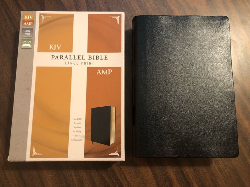 PERSONALIZED ** KJV Amplified Parallel Bible Large Print - Black Bonded  Leather ** Custom Imprinted